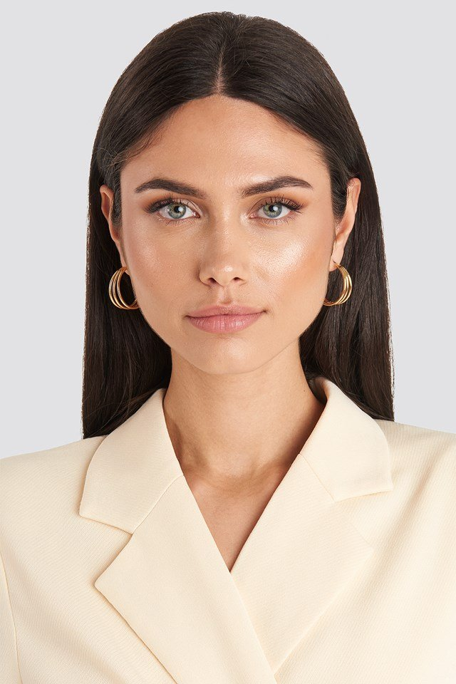 Double Pack Layered earrings Gold