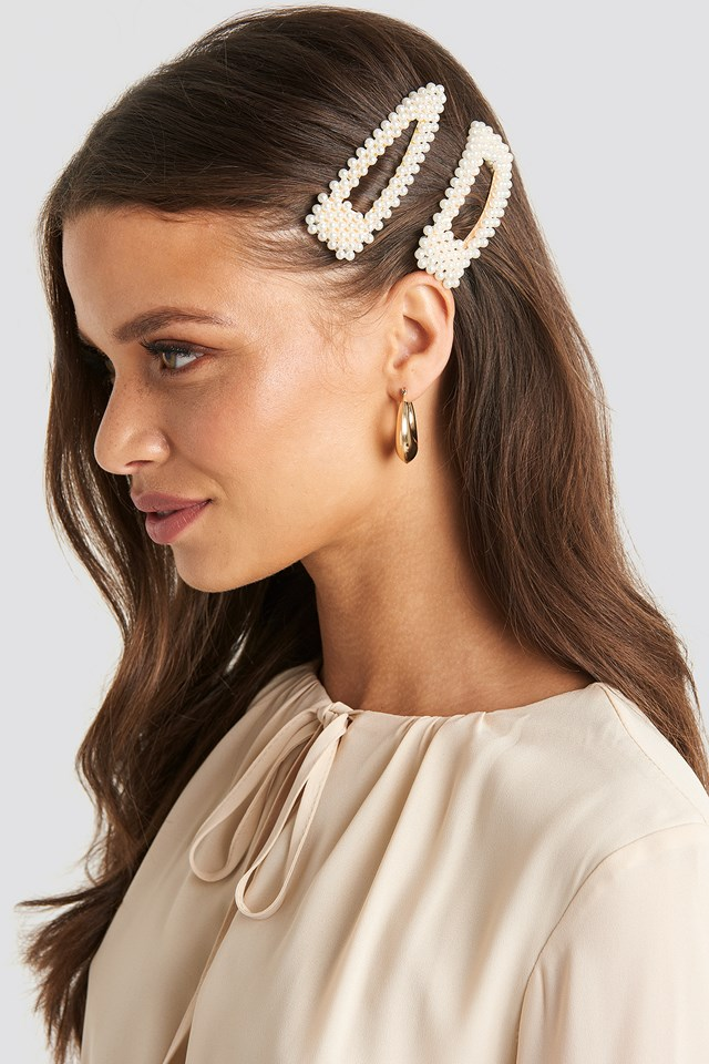 Double Pack Pearl Hairclips White