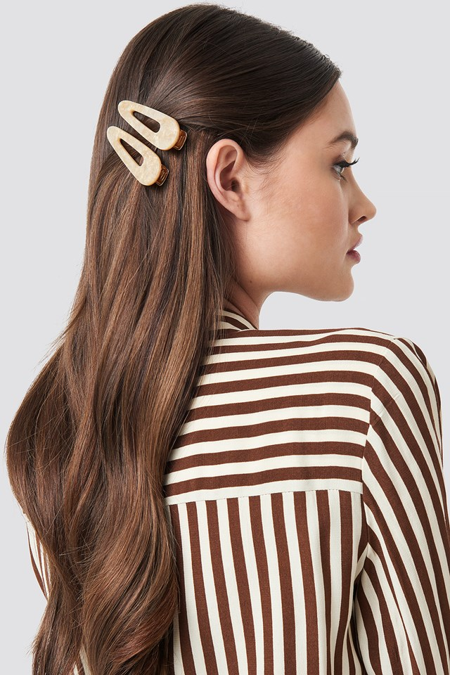 Double Pack Pointy Hair Clips Nude