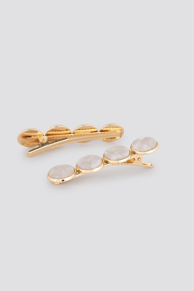 Double Pack Shiny Plate Hairclips Ivory