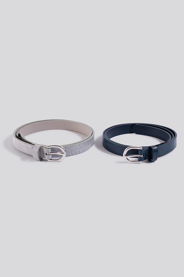 Double Pack Slim Belts Grey/Blue