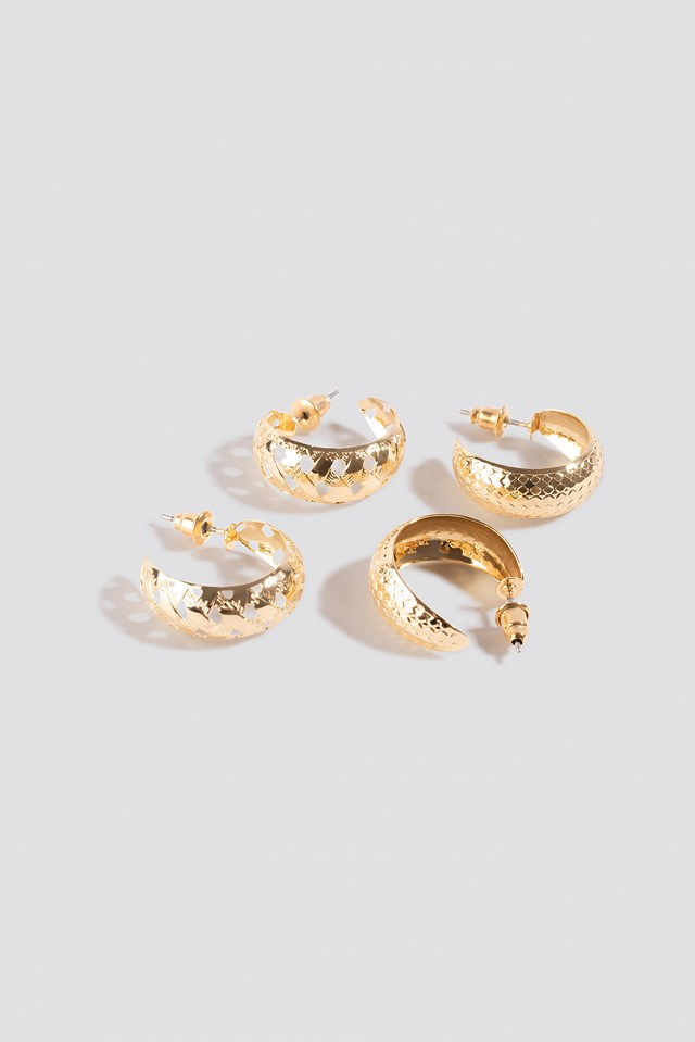 Double Pack Small Patterned Hoops Gold