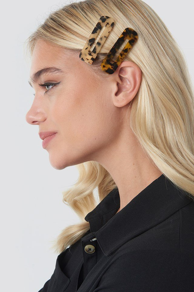 Double Pack Squared Hair Clips Tortoise