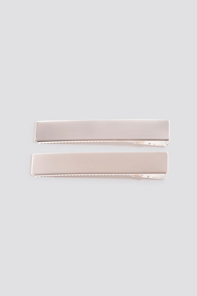 Double Pack Squared Hairclip Silver