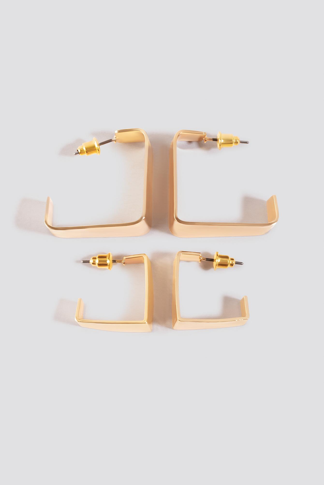 Double Pack Squared Mini Hoops NA-KD.COM