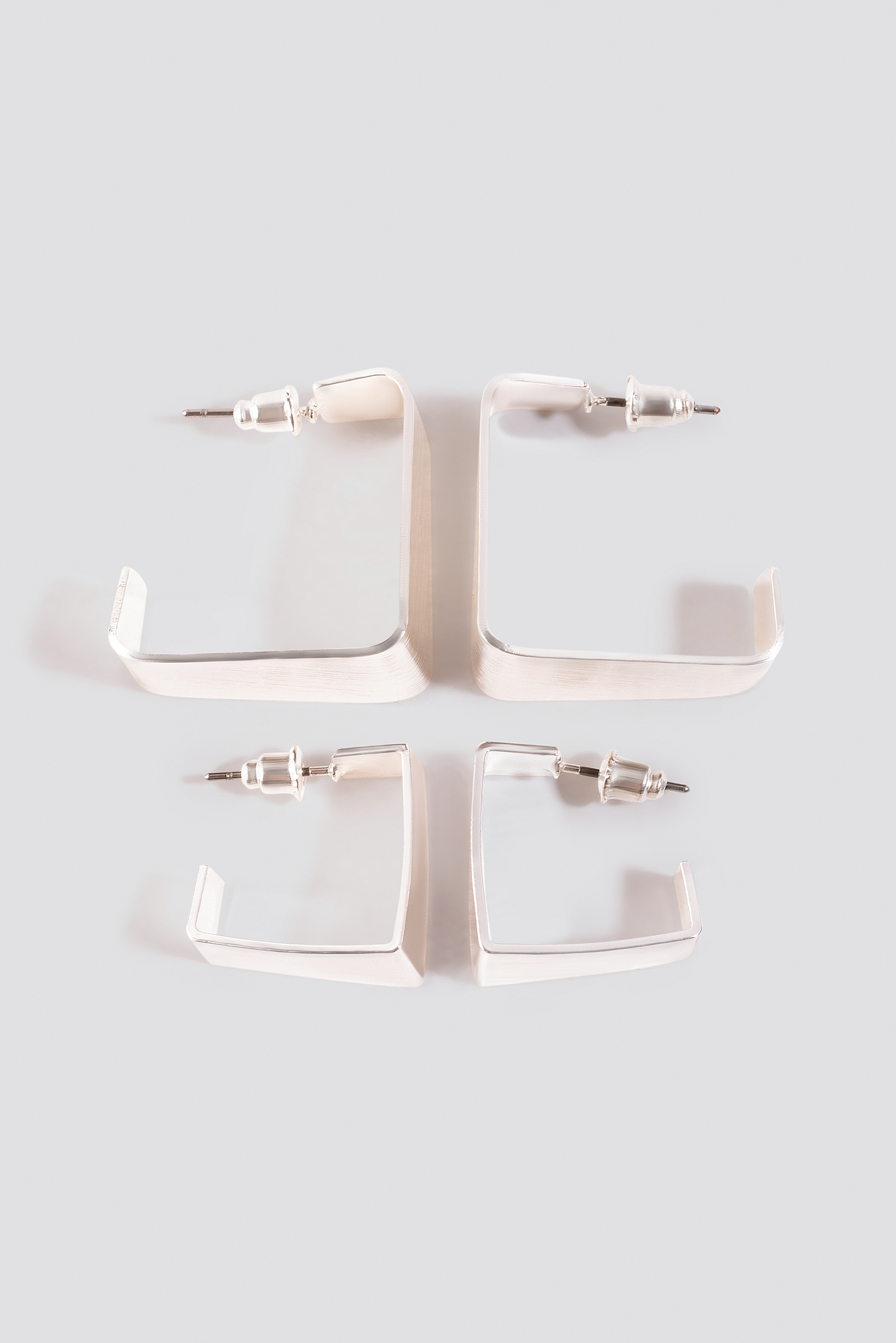 Silver Double Pack Squared Mini Hoops
