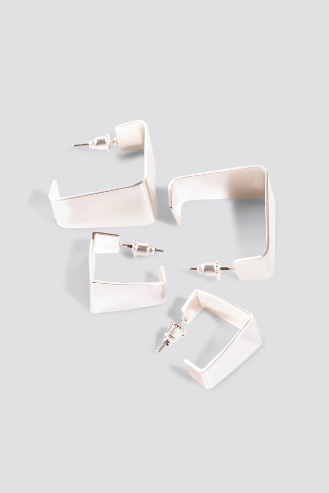 Double Pack Squared Mini Hoops Silver