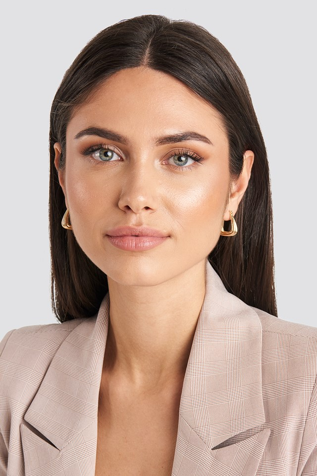 Double Pack Structured Triangle Earrings Gold/Silver