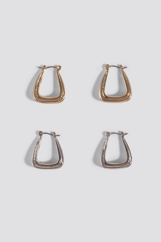 Double Pack Structured Triangle Earrings NA-KD Accessories