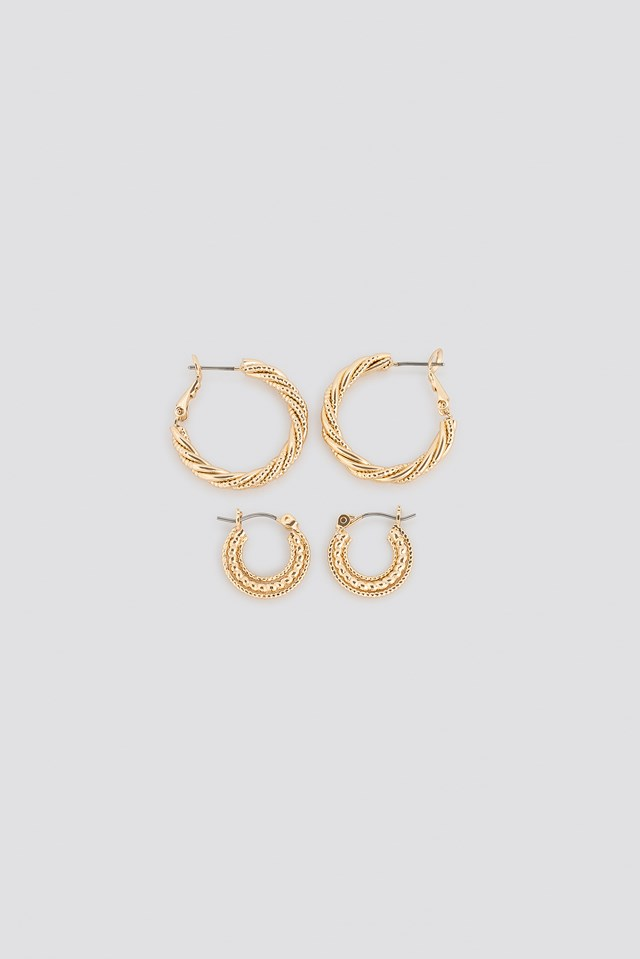 Double Pack Textured Braided Hoops NA-KD Accessories