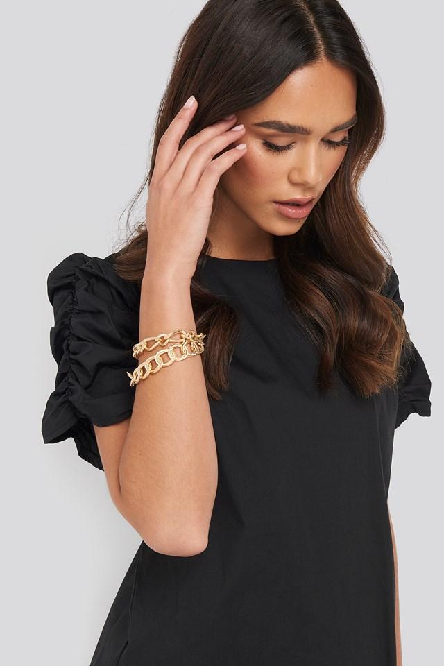 Double Pack Unalike Chain Bracelets Gold