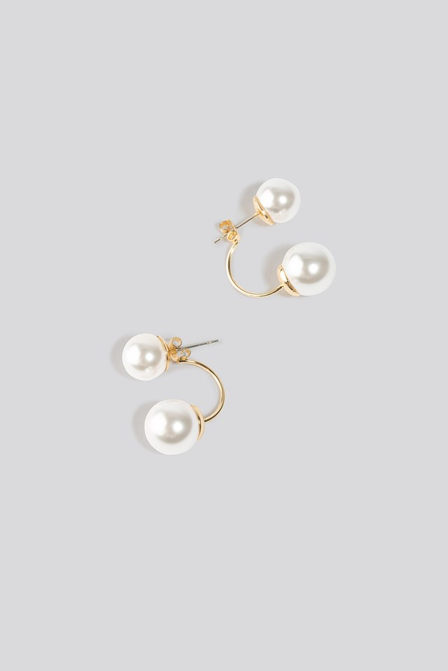 Double Pearl Earrings Gold