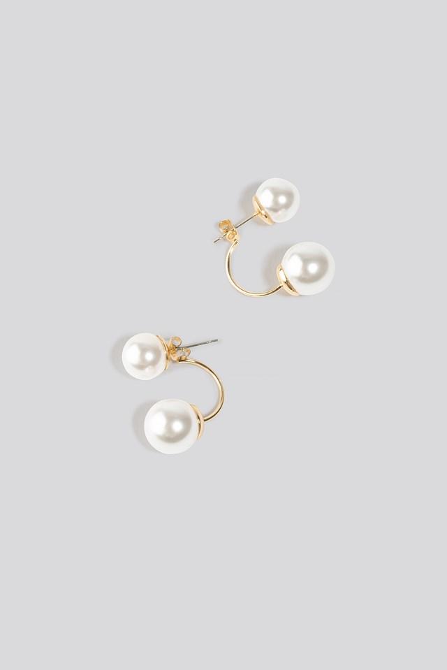 Double Pearl Earrings Gold