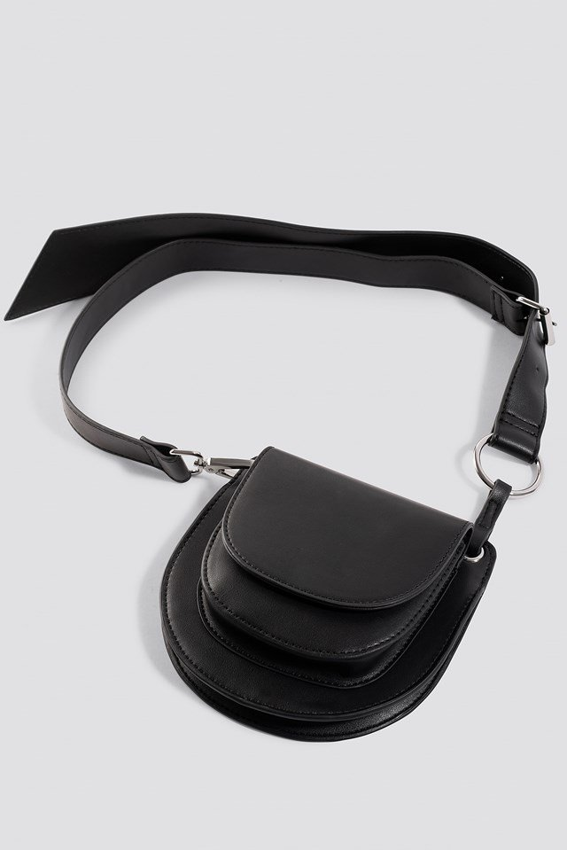 Double Pocket Belted Bag Black