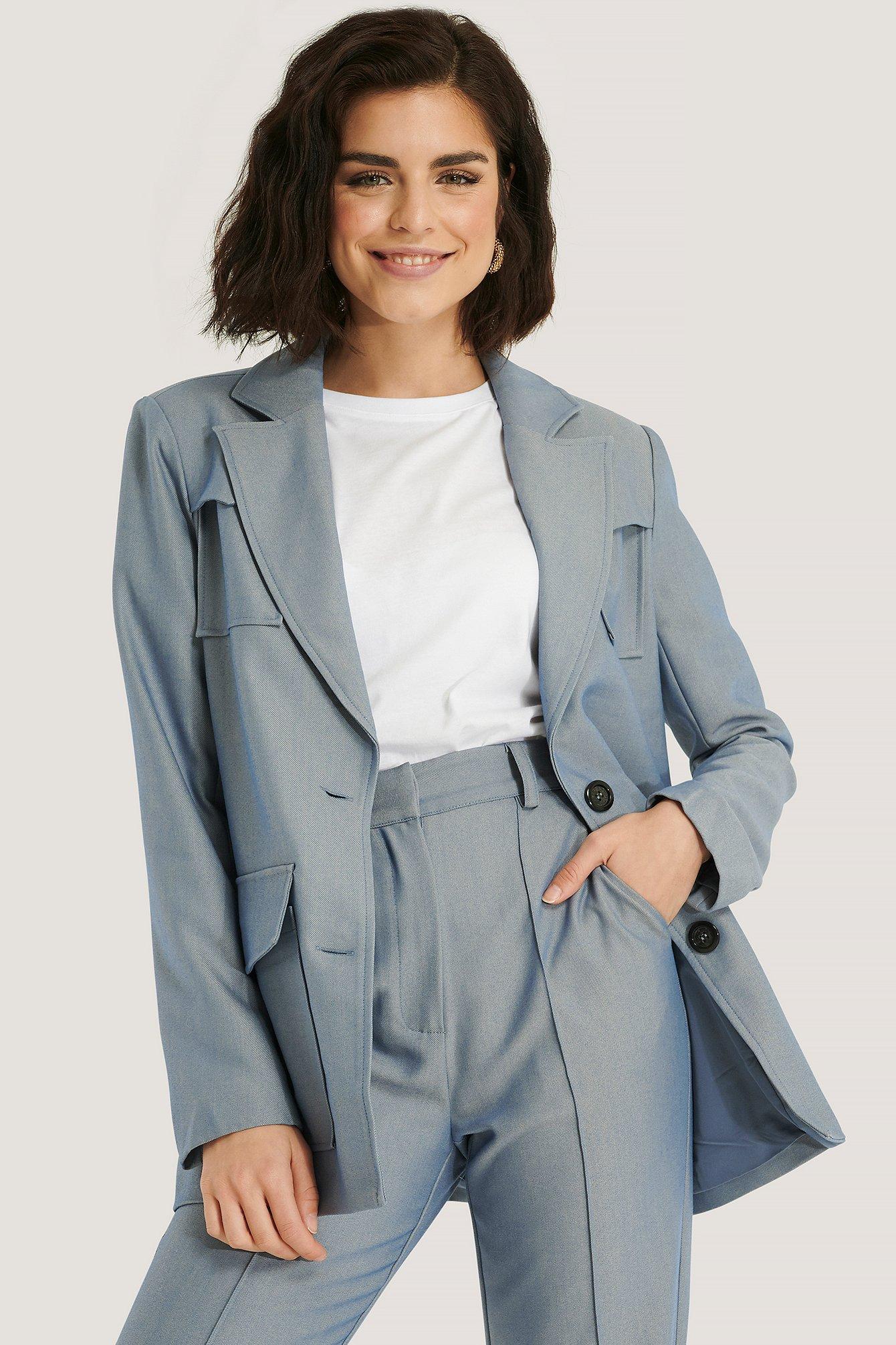 na-kd trend -  Blazer Mit Doppelten Taschen - Blue