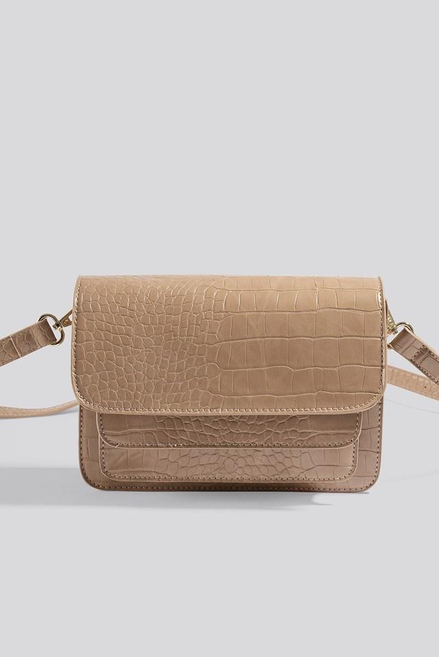 Double Pocket Crossbody Bag Nude