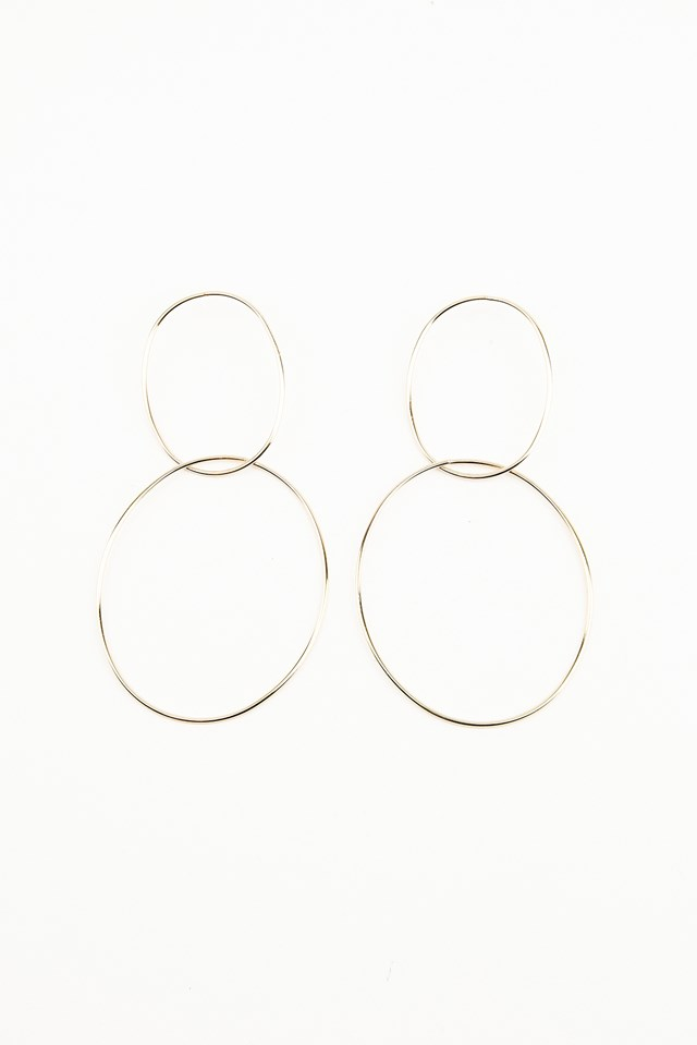 Double Ring Earrings Gold