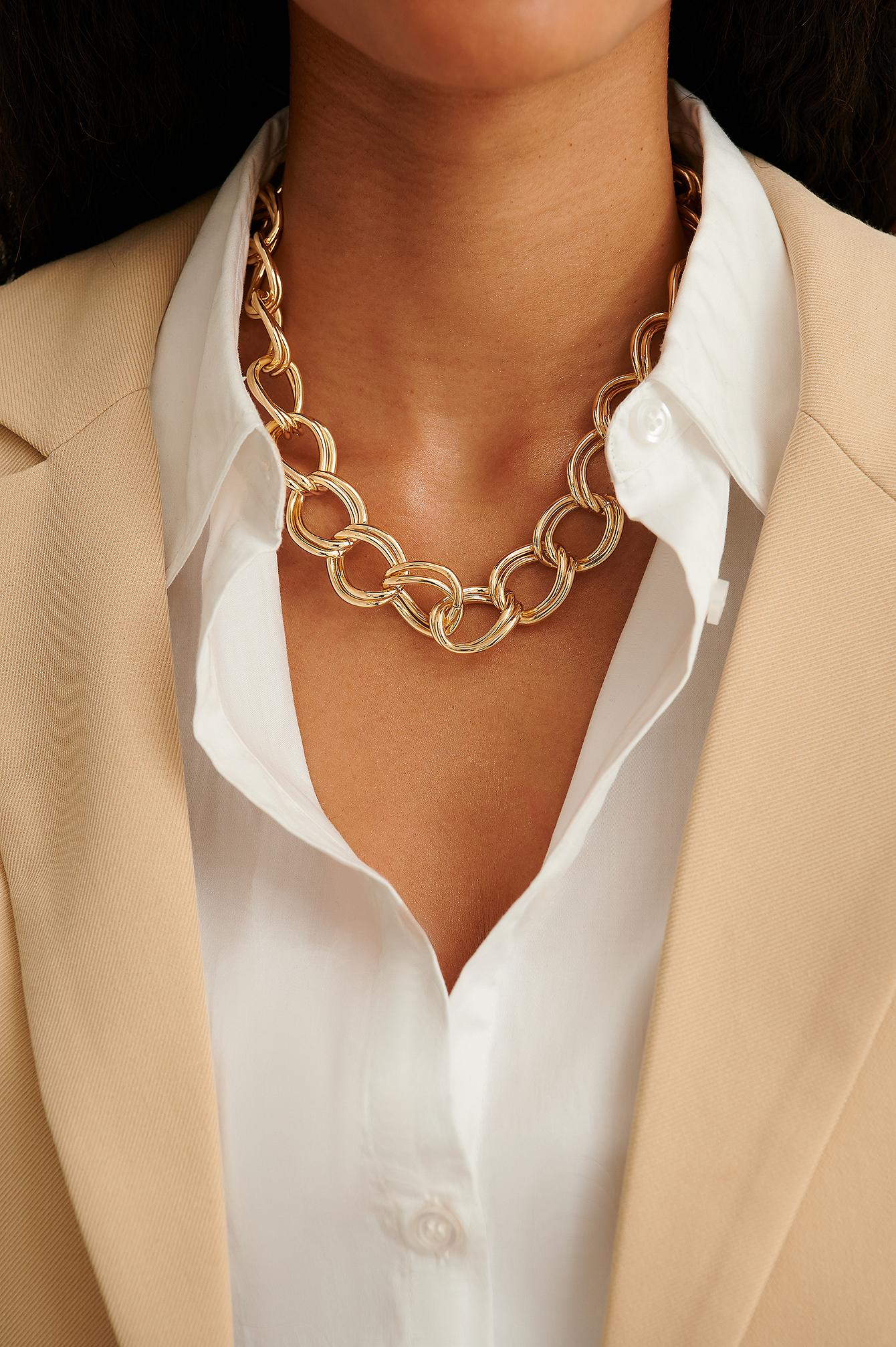 NA-KD Accessories Halskæde I Genanvendt Materiale Med Dobbeltringe - Gold