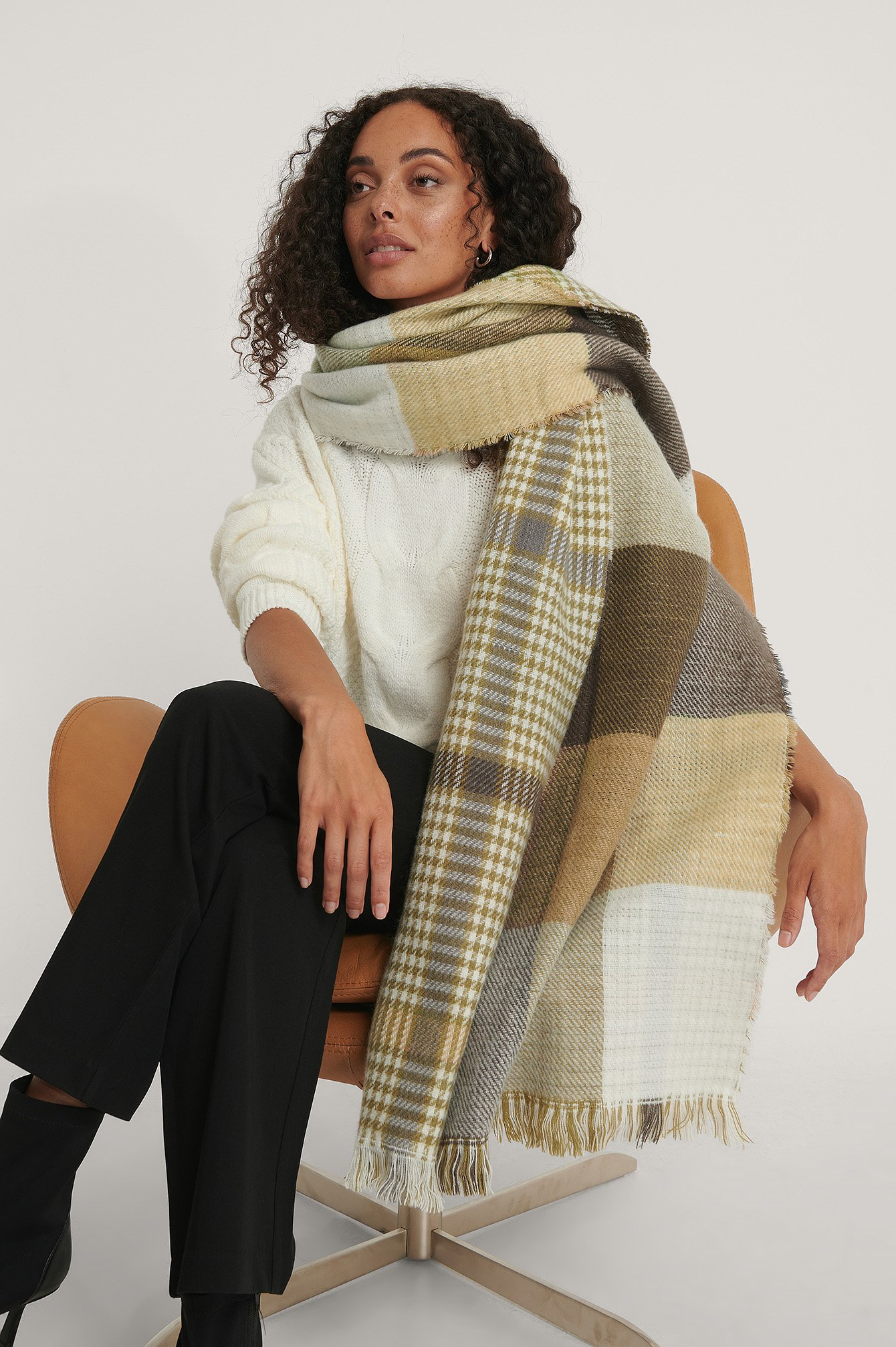 Na-kd Double Sided Checkered Scarf Multicolor In Black/white