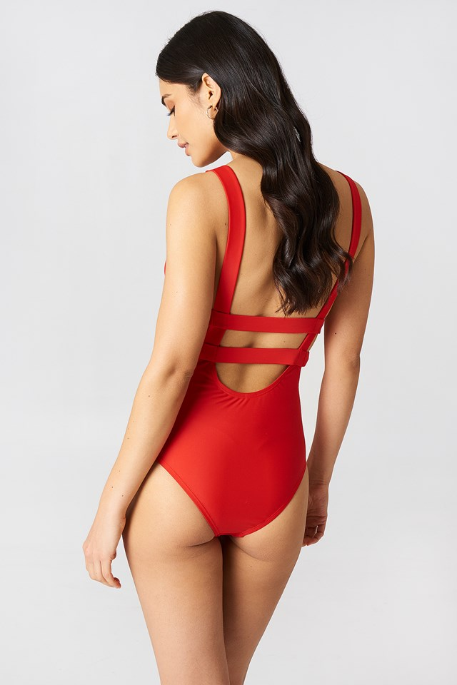 Double Strap Swimsuit Red