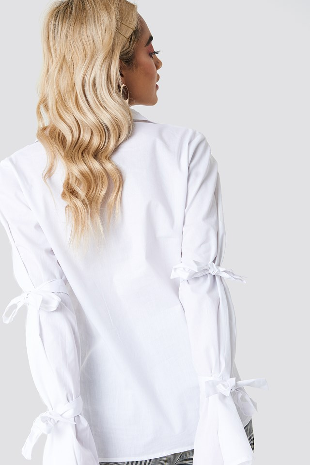 Double Tie Detail Shirt White