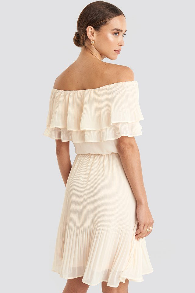 Double Tier Off Shoulder Dress Light Beige