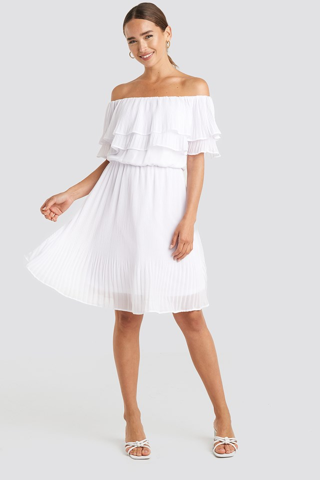 Double Tier Off Shoulder Dress Optical White