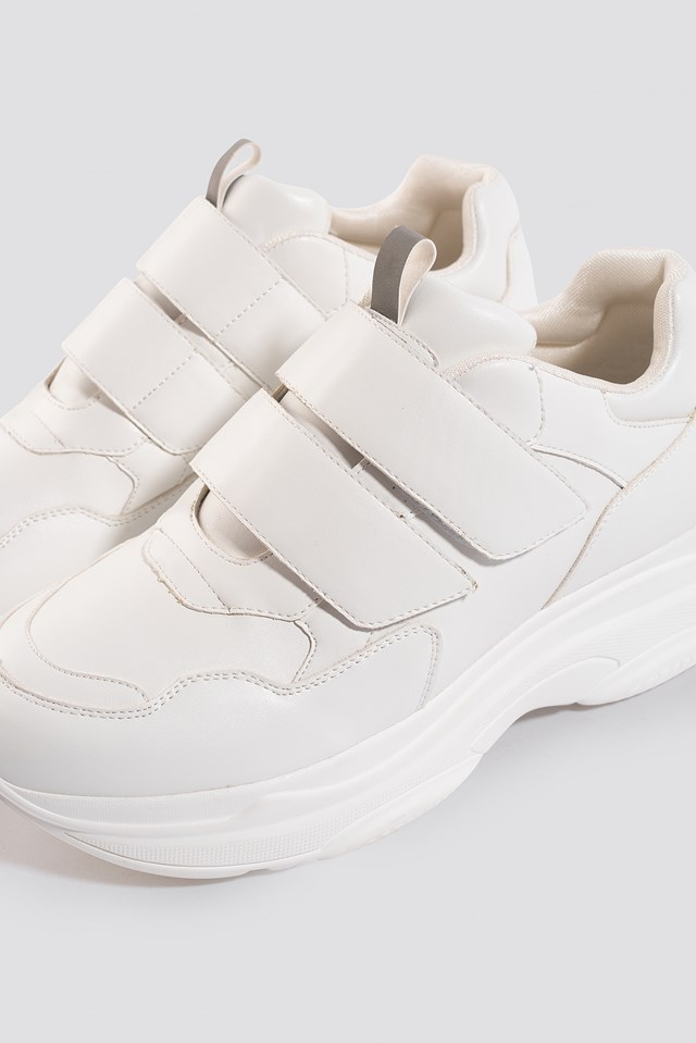 Double Velcro Chunky Trainers White