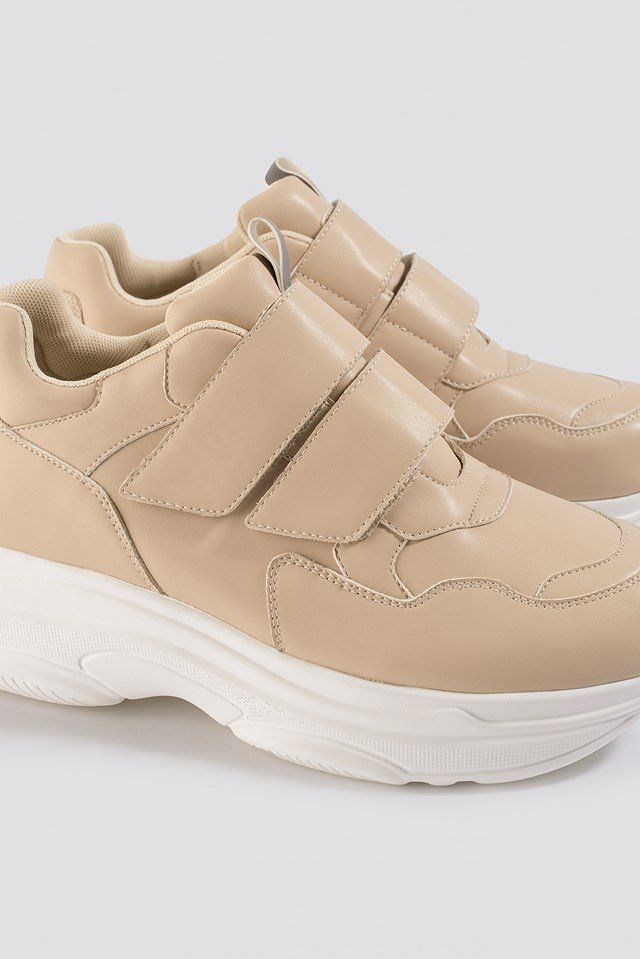 Double Velcro Chunky Trainers Beige