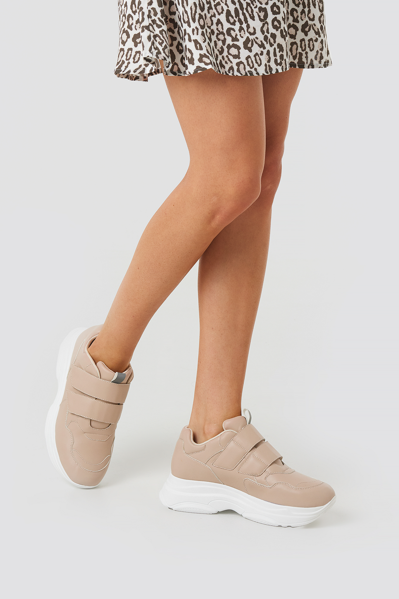 Beige Double Velcro Chunky Trainers