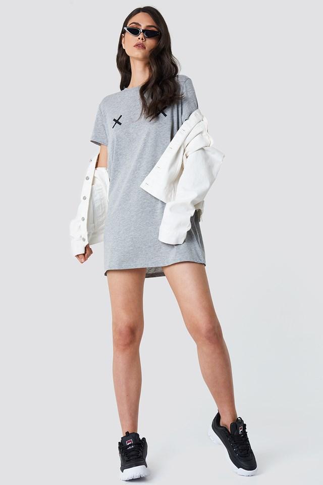 Double X T-shirt Dress Grey Melange
