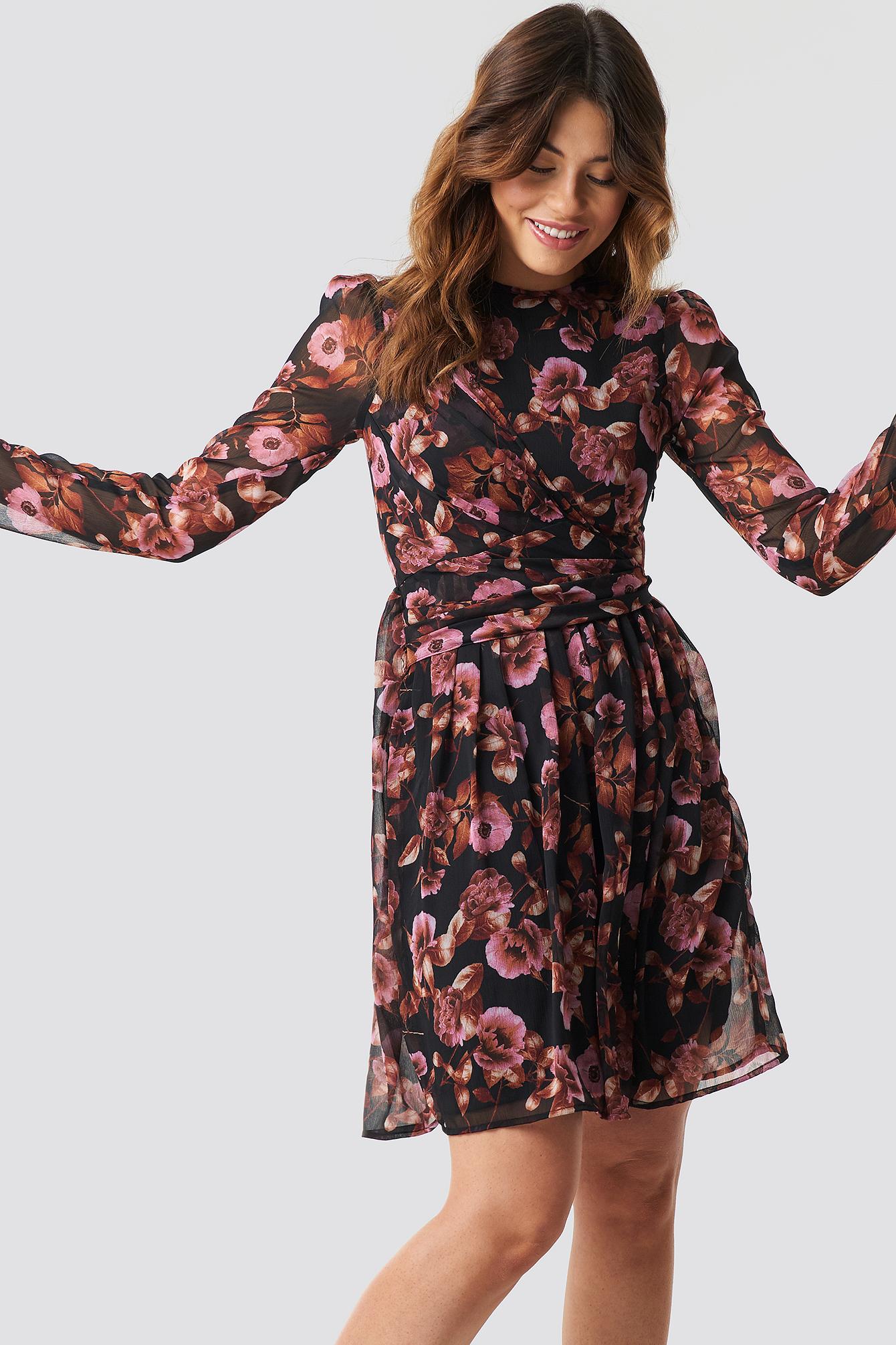 Draped Detail Chiffon Mini Dress NA-KD.COM
