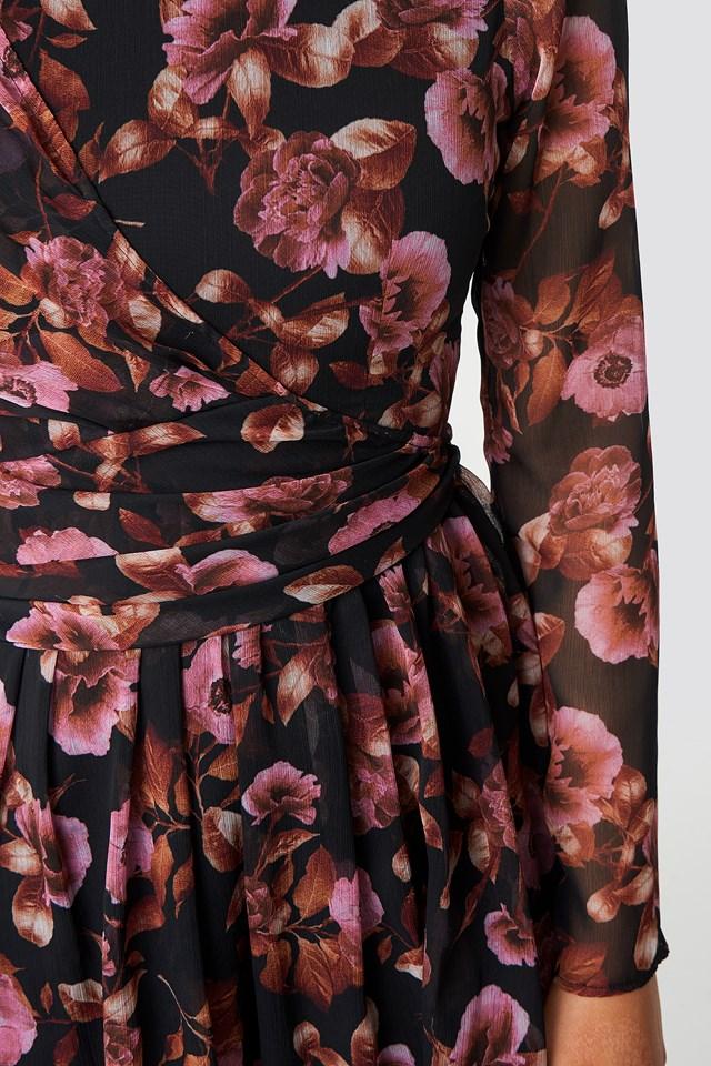 Draped Detail Chiffon Mini Dress Black/Pink Flower Print