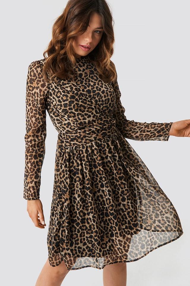 Draped Detail Chiffon Mini Dress Leoprint