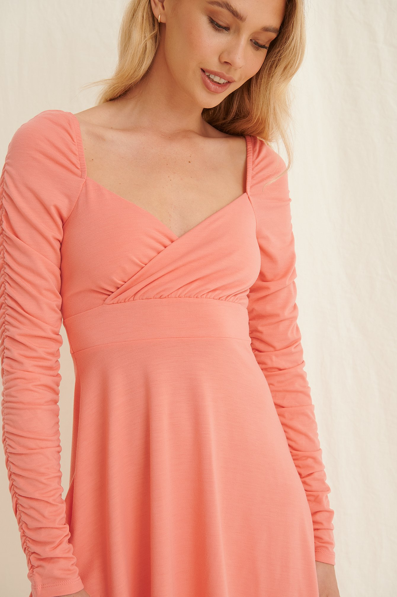 Dusty Coral Draped Detail Recycled Long Sleeve Dress