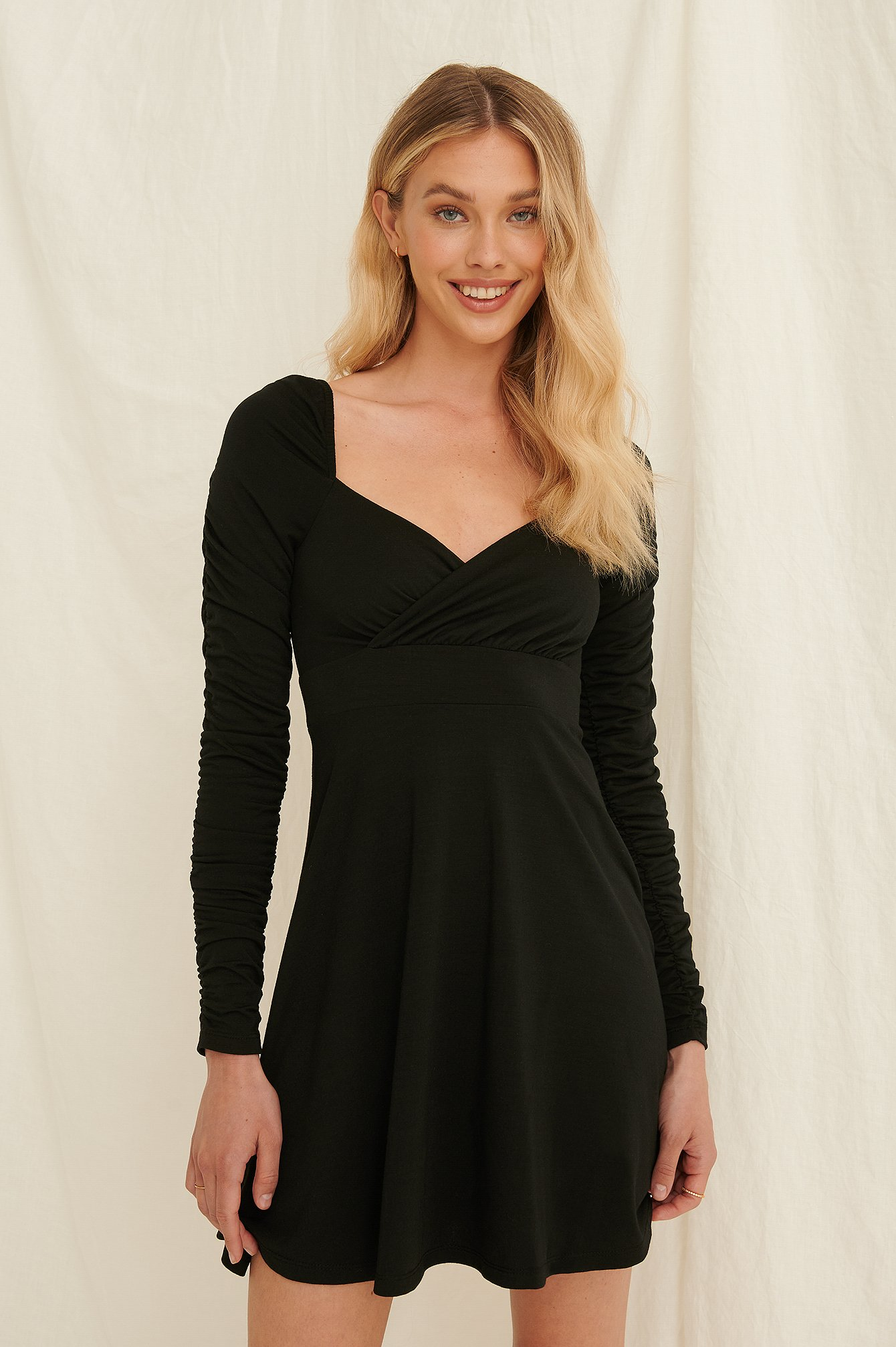 Black Draped Detail Recycled Long Sleeve Dress