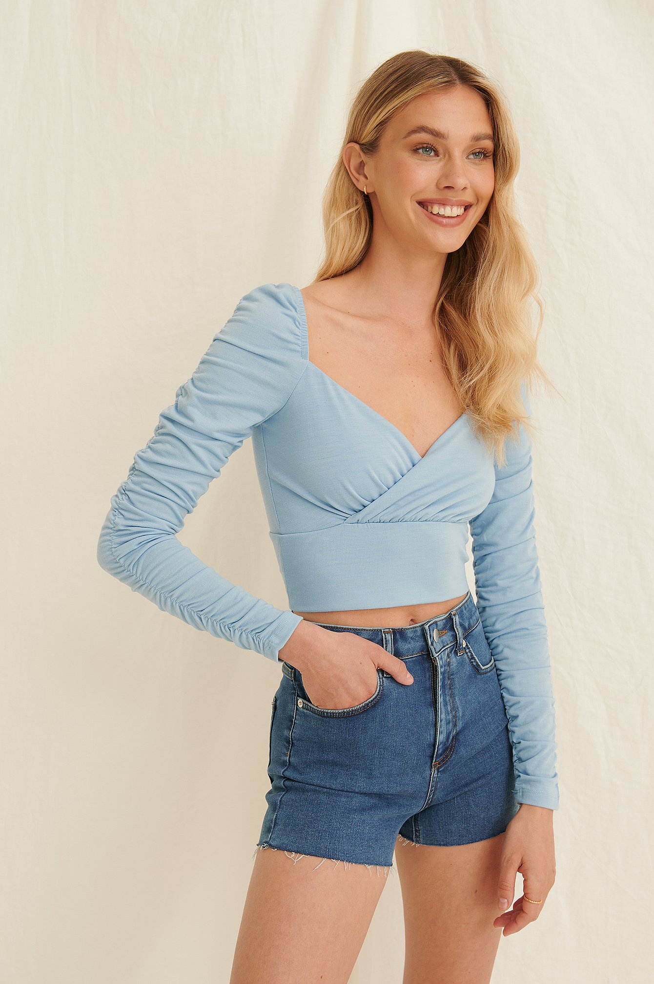 Dusty Blue Draped Detail Recycled Long Sleeve Top