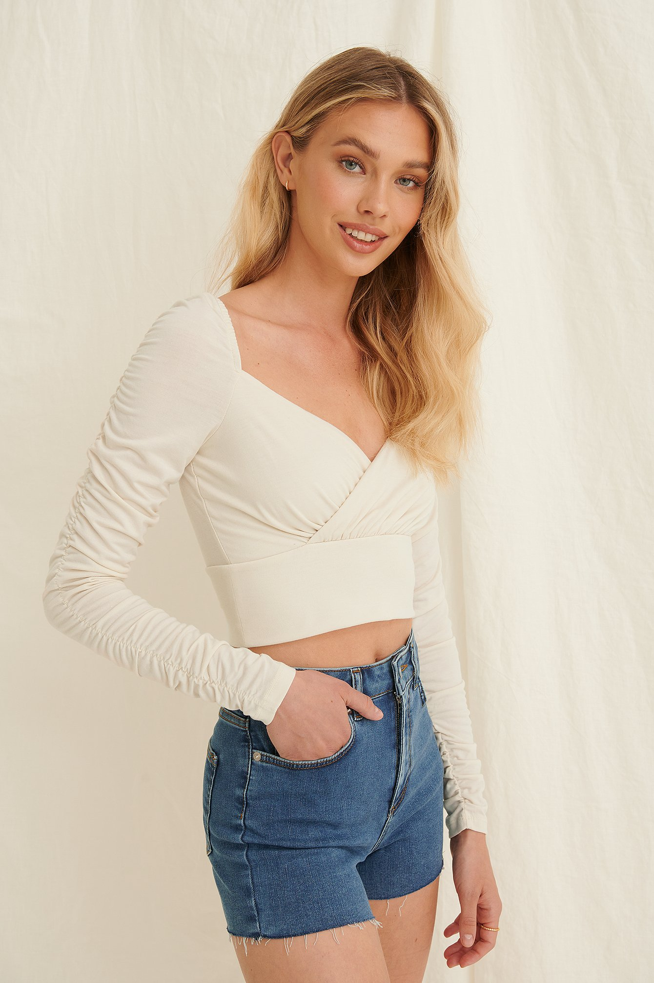 White Draped Detail Recycled Long Sleeve Top