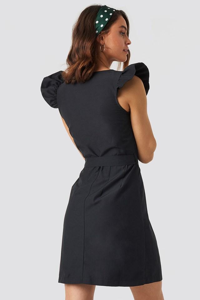 Draped Flounce Sleeve Mini Dress Black