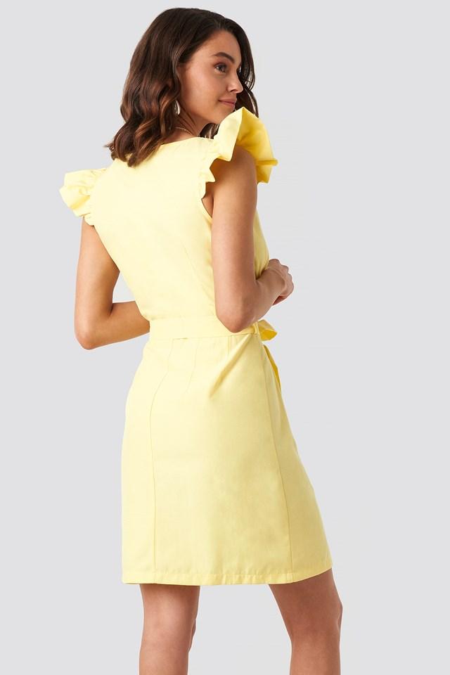 Draped Flounce Sleeve Mini Dress NA-KD.COM