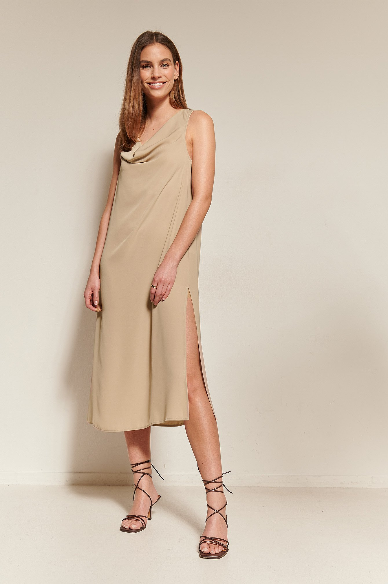 Beige Draped Front Dress