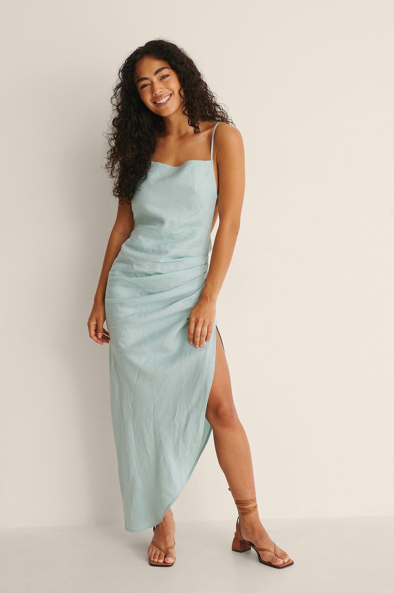 na-kd trend -  Drapiertes Kleid Mit Trägern - Blue