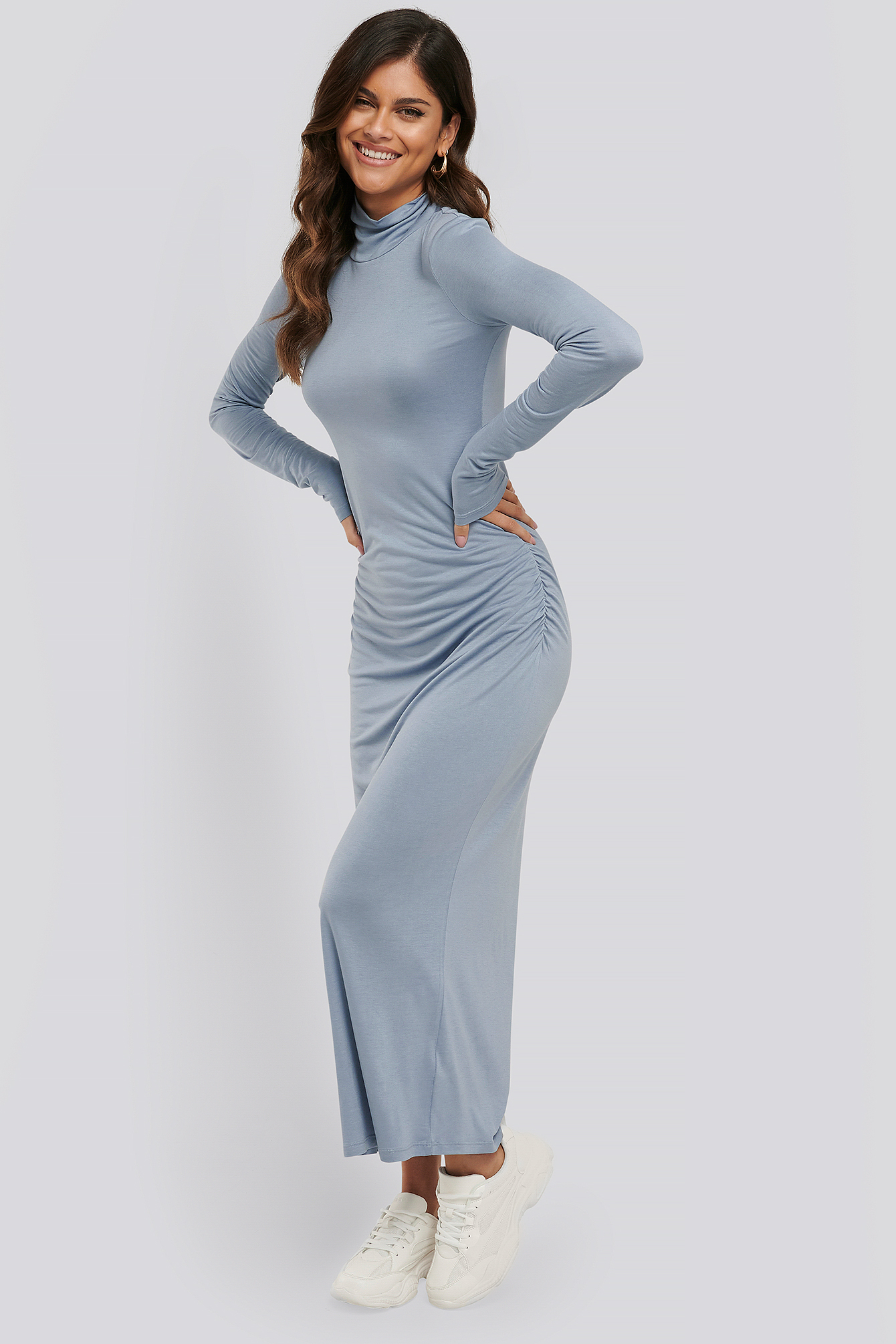 Stone Blue Draped Polo Neck Dress