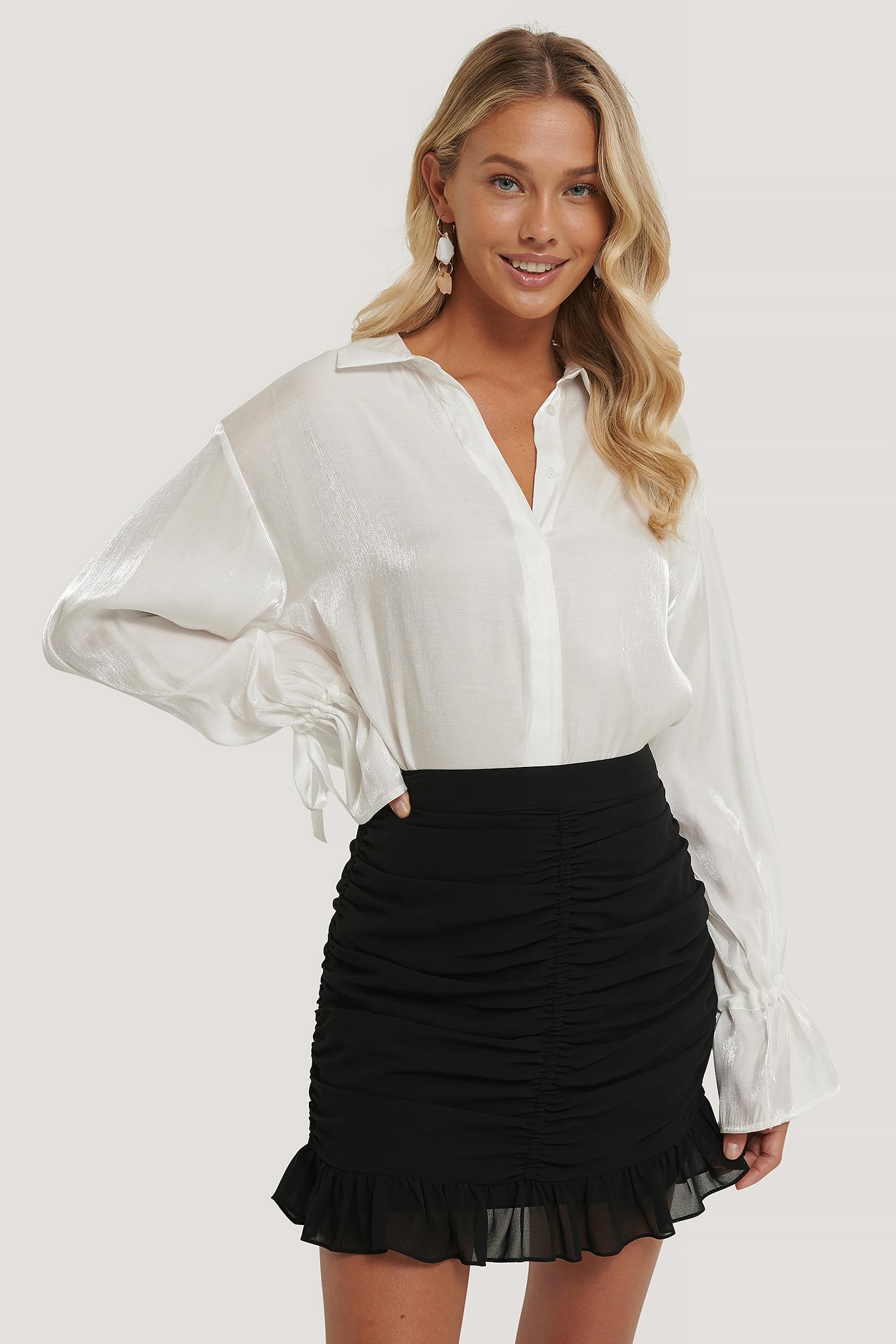 Na-Kd Draped Sheer Mini Skirt Black