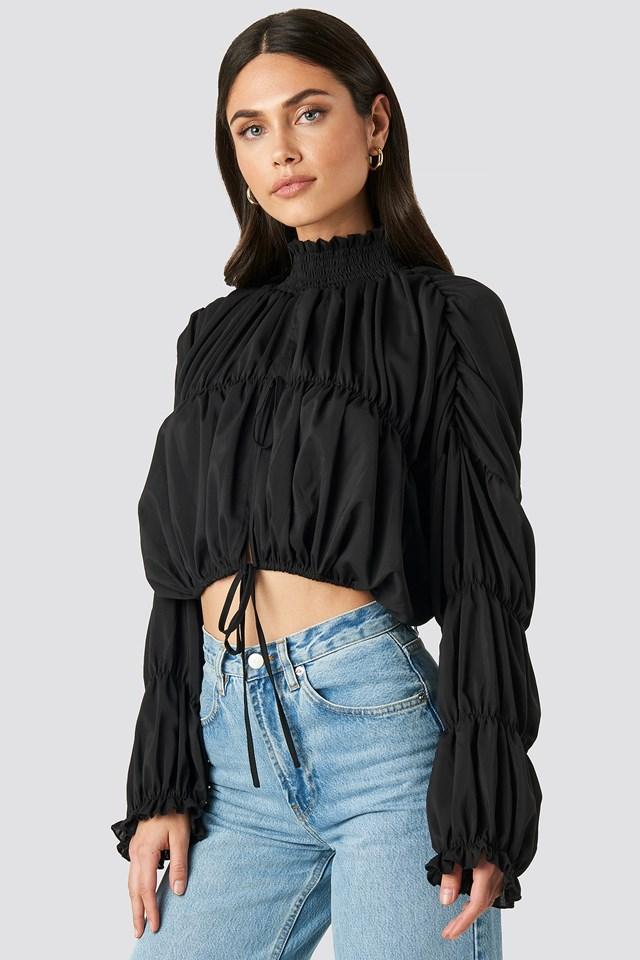 Draped Sleeve Top Black