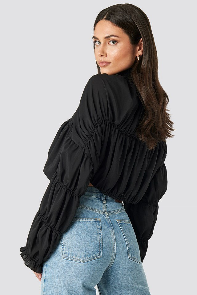 Draped Sleeve Top Black