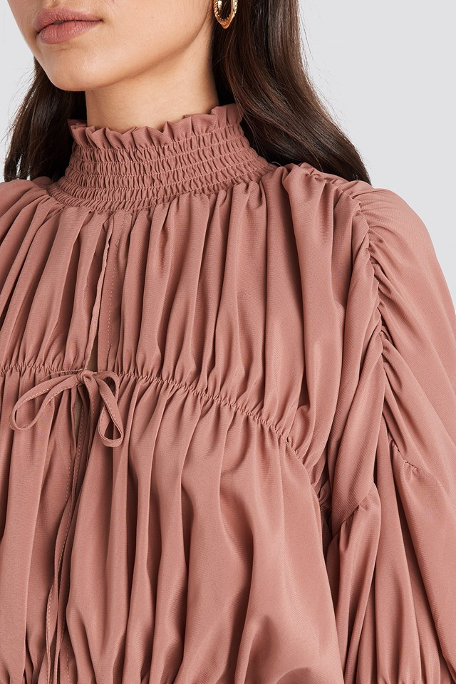 Draped Sleeve Top Dusty Pink