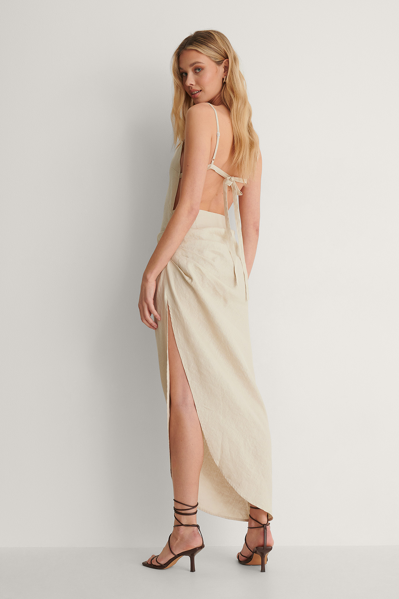 Light Grey Draped Linen Dress
