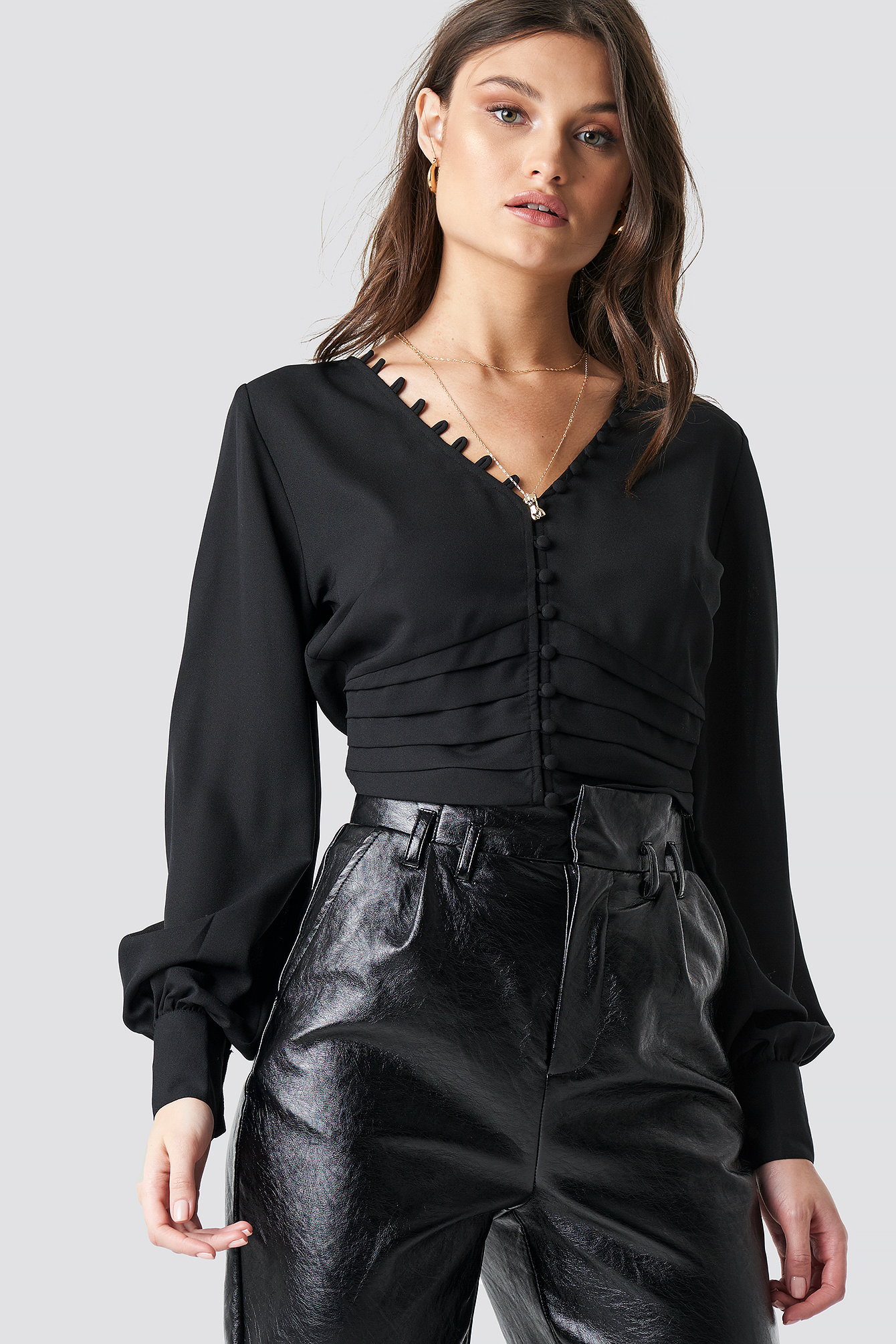 Draped Waist Button Up Blouse NA-KD.COM