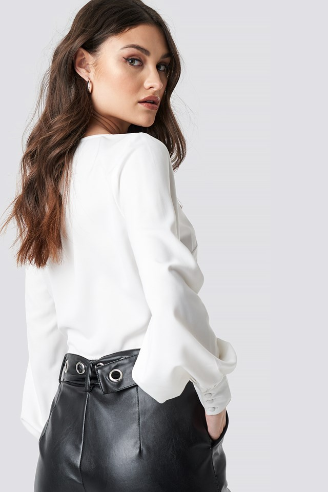 Draped Waist Button Up Blouse White
